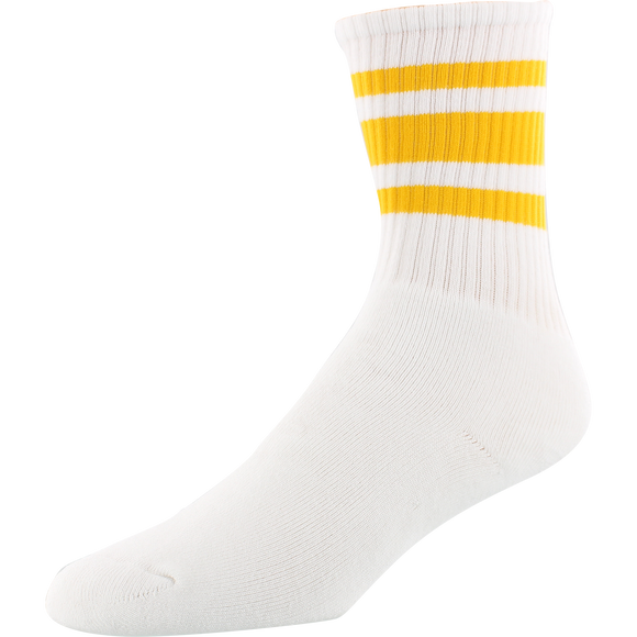 Socco Socks Large/X-Large Crew Stripe White/Gold - Single Pair