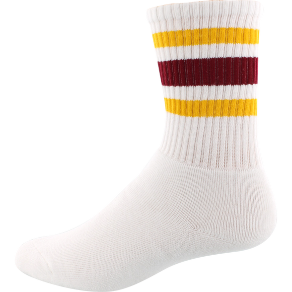 Socco Socks Large/X-Large Crew Stripe White/Gold/Maroon - Single Pair