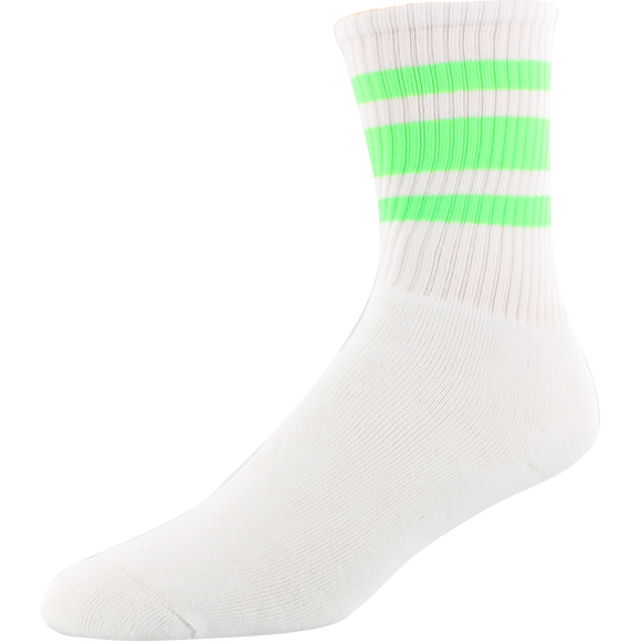 Socco Socks Large/X-Large Crew Stripe White/Neon Green - Single Pair