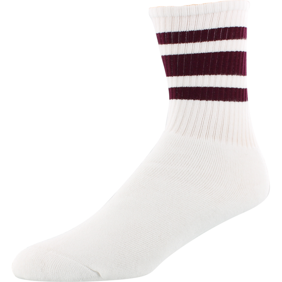 Socco Socks Large/X-Large Crew Stripe White/Maroon - Single Pair