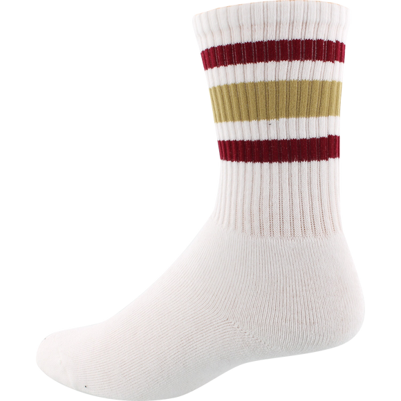Socco Socks Large/X-Large Crew Stripe White/Garnet/Gold - Single Pair