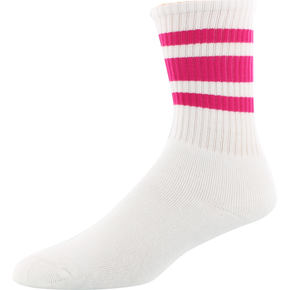 Socco Socks Large/X-Large Crew Stripe White/Fuchsia - Single Pair