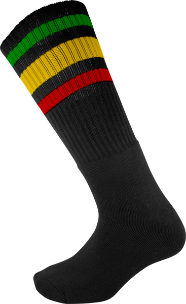 Socco Socks Large/X-Large Knee High Stripe Black/Rasta - Single Pair