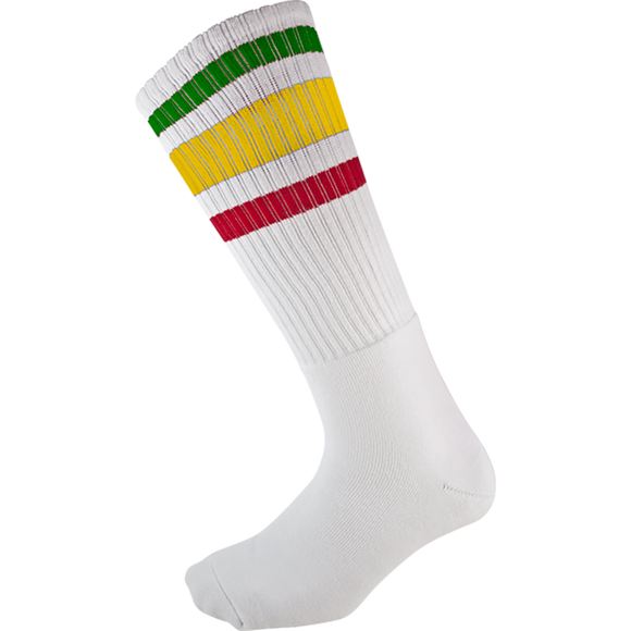 Socco Socks Large/X-Large Knee High Stripe White/Rasta - Single Pair