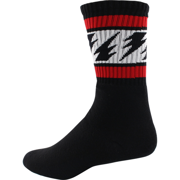 Socco Socks Small/Medium Crew Vallely Bolts Black/Red/White - Single Pair
