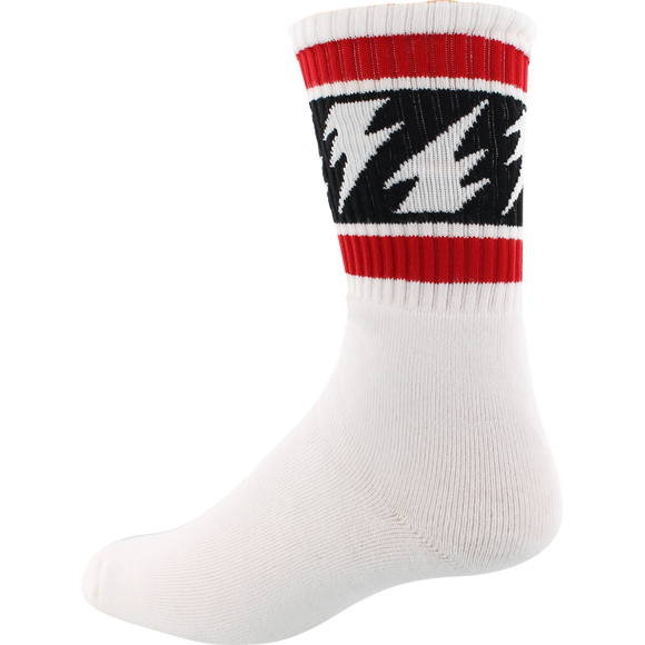 Socco Socks Small/Medium Crew Vallely Bolts White/Red/Black - Single Pair