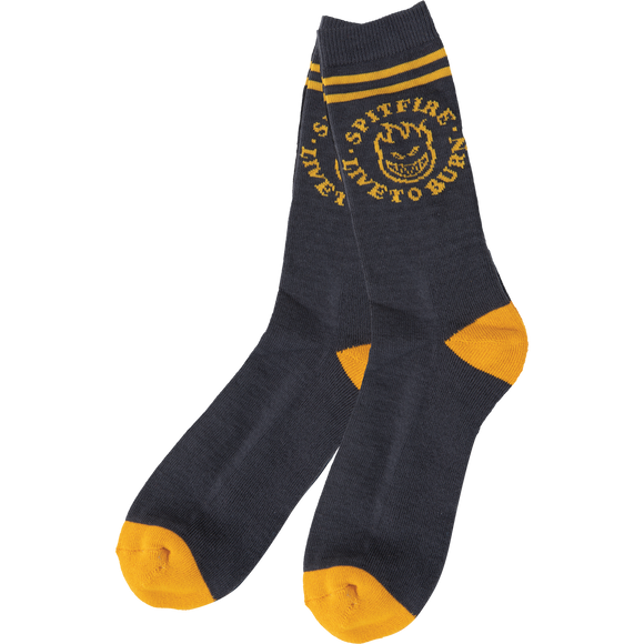 Spitfire Bighead Ltb Crew Socks Charcoal/Gold - Single Pair
