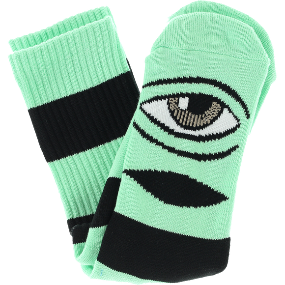 Toy Machine Sect Eye Big Stripe Crew Socks-Mint - Single Pair