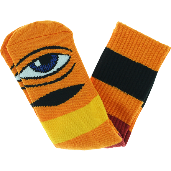 Toy Machine Sect Eye Big Stripe Crew Socks Orange - Single Pair