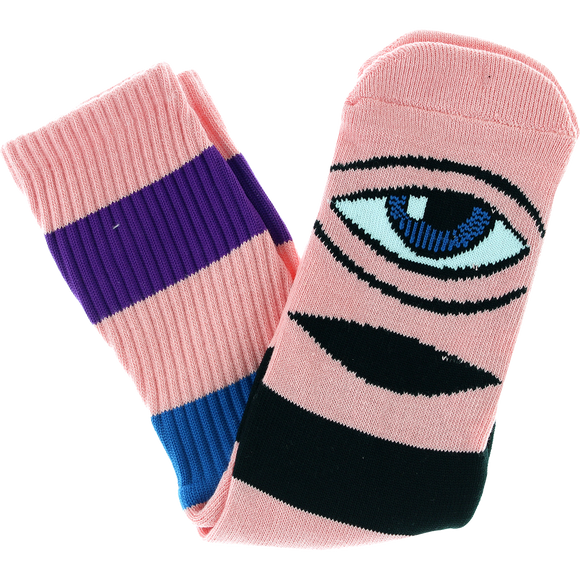 Toy Machine Sect Eye Big Stripe Crew Socks-Pink - Single Pair