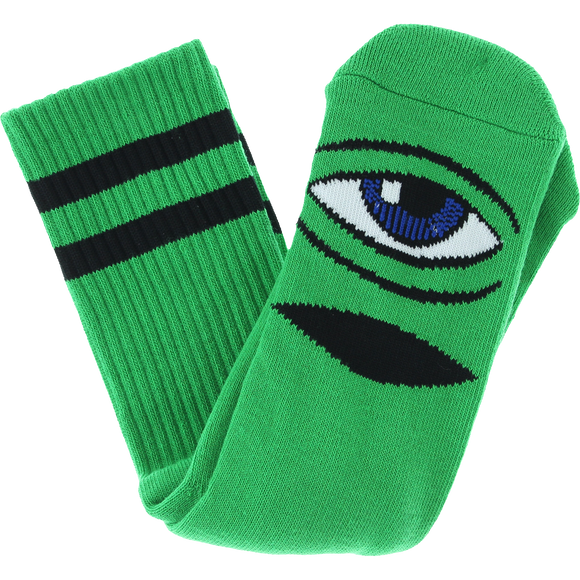Toy Machine Sect Eye Crew Socks-Kelly Green - Single Pair