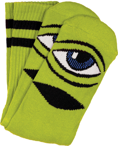 Toy Machine Sect Eye Crew Socks-Green - Single Pair