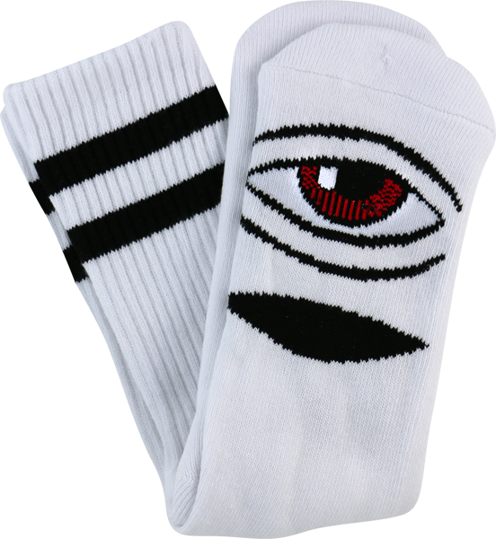 Toy Machine Sect Eye Crew Socks-White - Single Pair