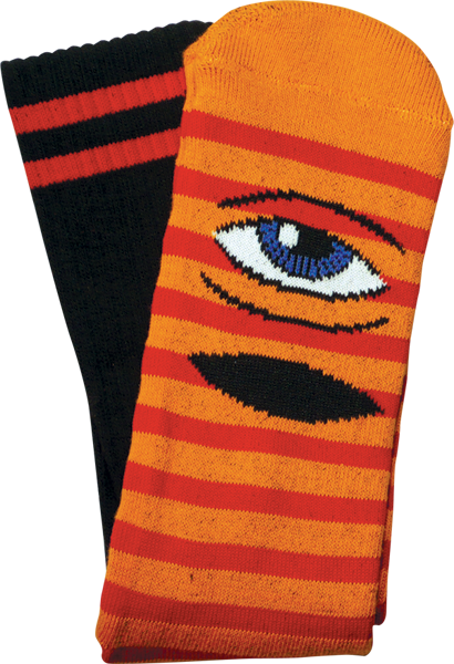 Toy Machine Sect Eye Stripe Crew Socks-Orange/Red/Black - Single Pair