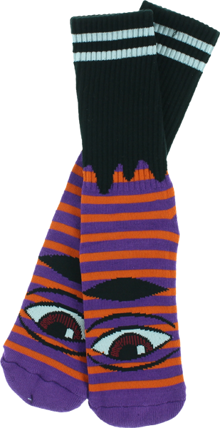 Toy Machine Sect Eye Stripe Crew Socks-Purple/Orange/Black - Single Pair