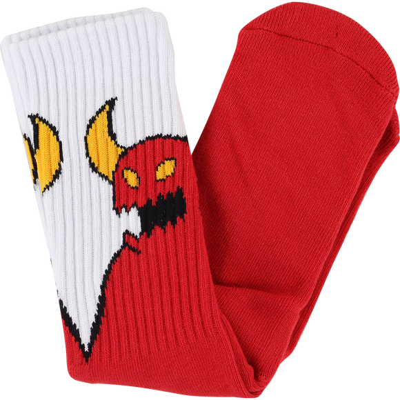 Toy Machine Sketchy Monster Crew Socks Red/White - Single Pair