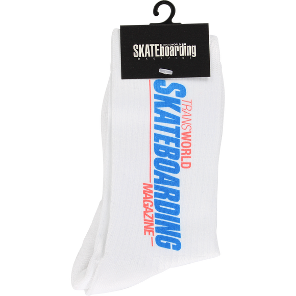 Transworld Retro Log Crew Socks White - Single Pair