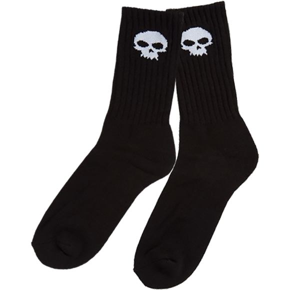 Zero Skull Crew Socks Black/White - Single Pair