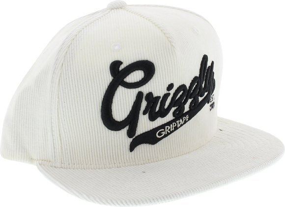 Grizzly Stadium Script Skate HAT - Adjustable White/Black