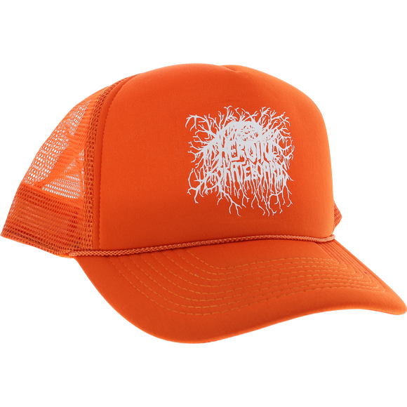 Heroin Roots Logo Mesh Skate HAT - Adjustable Orange/White