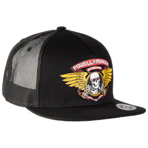 Powell Peralta Winged Ripper Trucker Mesh Skate HAT - Adjustable Black