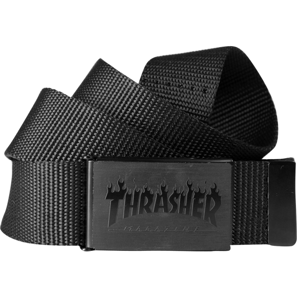 Thrasher Flames Web Belt Black Tonal