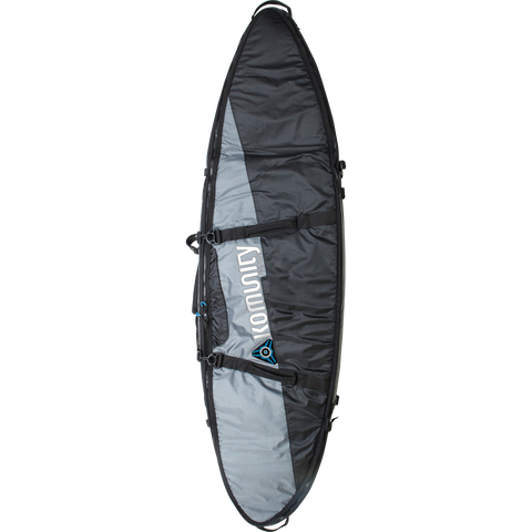 "Komunity Project Triple/Quad Lightweight Traveler Board Bag - 7'6"" Grey/Black - Surfboard Bag"