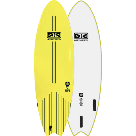 "O&E Ocean & Earth Ezi-Rider Softboard 5'6"" Lime Electric Yellow - Surfboard"