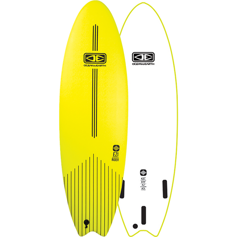 "O&E Ocean & Earth Ezi-Rider Softboard 6'0"" Lime Electric Yellow - Surfboard"