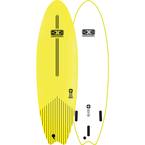 "O&E Ocean & Earth Ezi-Rider Softboard 6'6"" Lime Electric Yellow - Surfboard"