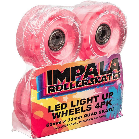 Impala Light-Up Led Wheel With Bearings 62mm 82a Pink - 4 Pack