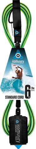 Komunity Project 6' Standard Surfboard Leash 7mm -  Lime  | Universo Extremo Boards Surf & Skate