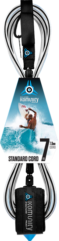 Komunity Project 7' Standard Surfboard Leash 7mm -  Black  | Universo Extremo Boards Surf & Skate