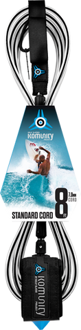 Komunity Project 8' Standard Surfboard Leash 7mm -  Black  | Universo Extremo Boards Surf & Skate