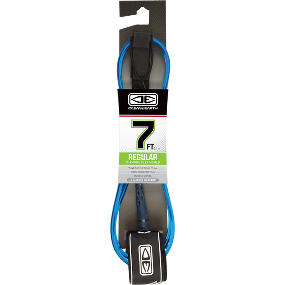 O&E Ocean & Earth Moulded Regular Leash 7' Blue