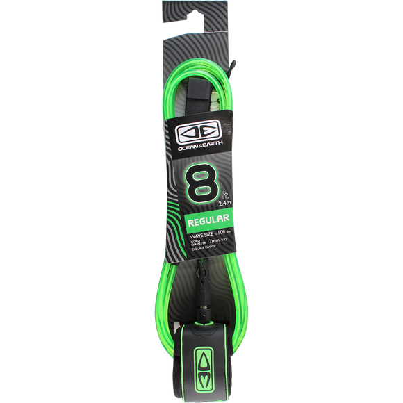 O&E Ocean & Earth Moulded Regular Leash 8' Lime