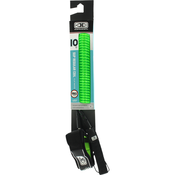 O&E Ocean & Earth Coiled Knee Sup/Lb Leash 10' Lime