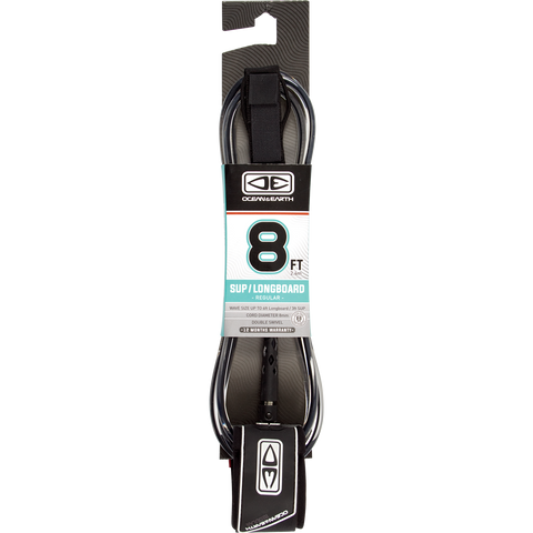 O&E Ocean & Earth Regular Sup/Lb Leash 8' Black