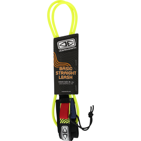 O&E Ocean & Earth Bodyboard Basic Wrist Straight Leash Yellow