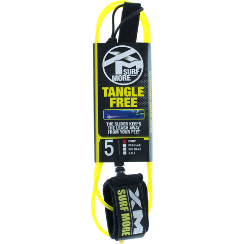Surf More XM Tangle Free Ds Complite Leash 5' Yellow