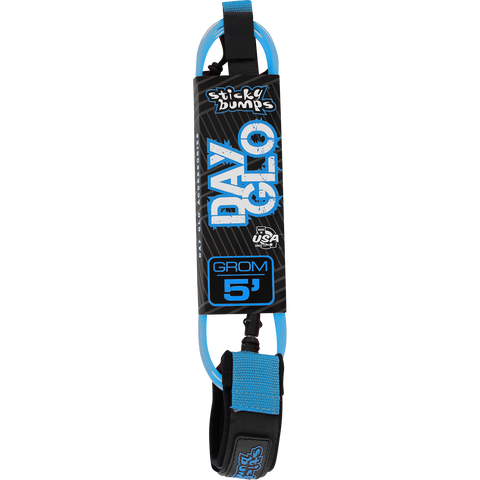Sticky Bumps Day-Glo Grom 5 Leash Blue