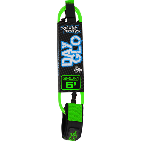 Sticky Bumps Day-Glo Grom 5' Leash Green