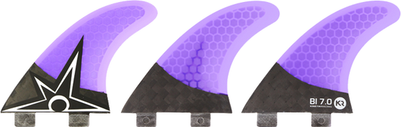 Kinetik Racing B.Irons Carbo Tune xs-S Fcs Purple Surfboard FIN  -  SET OF 3PCS