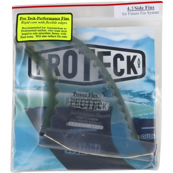 Proteck Pwr-Flex Ffs Side 4.5 Clear/Black Surfboard FIN  -  SET OF 2PCS