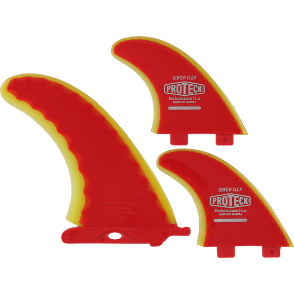 Proteck Super Flex Fcs Combo 7.0+4.5 Red/Yellow Surfboard FIN  -  SET OF 3PCS