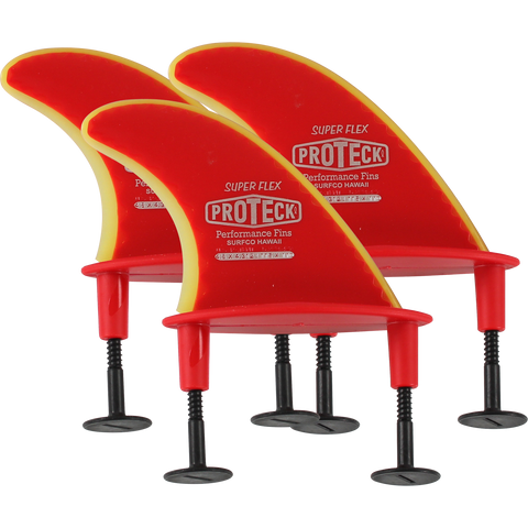"Proteck Super Flx Softboard 4.5"" Flange & Post Red Surfboard FIN  -  SET OF 3PCS"