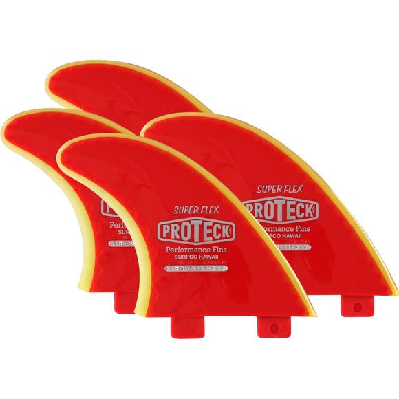 Proteck Super Flex Fcs Sup Quad Set 4.5 Red/Yellow Surfboard FIN  -  SET OF 4PCS