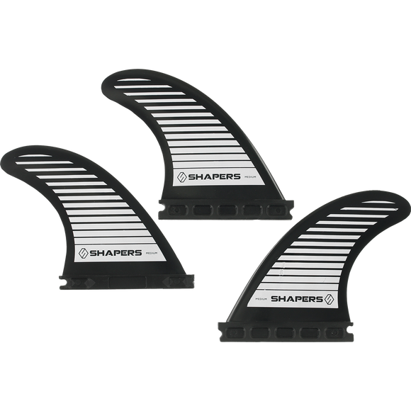 Shapers Australia S-5 Future Black 3fin Set Surfboard FIN  -  SET OF 3PCS