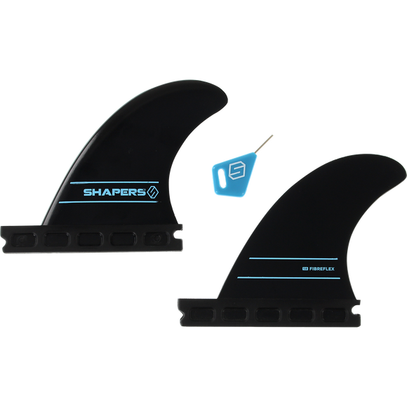 Shapers Australia S-2 Future Side Bite Set Black 2pc Surfboard FIN  -  SET OF 2PCS