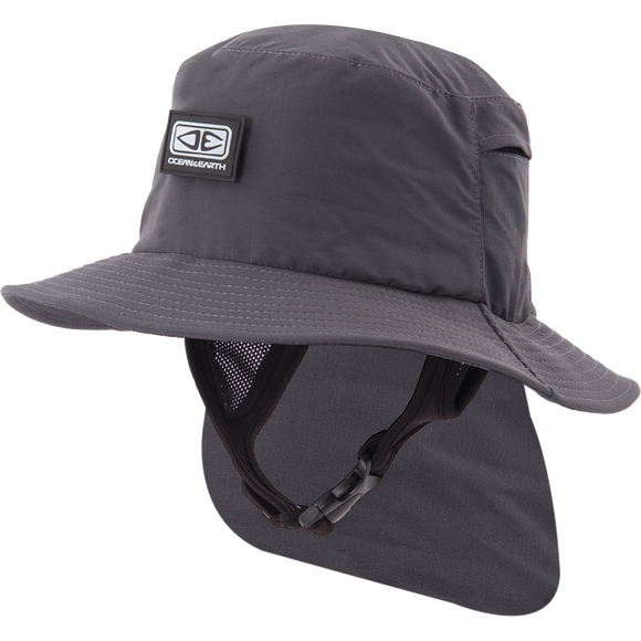 Ocean and Earth Mens Indo Stiff Peak Surf HAT - S-Black